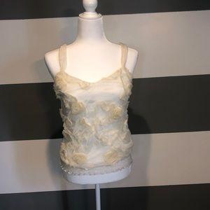 White Floral Sleeveless Tank